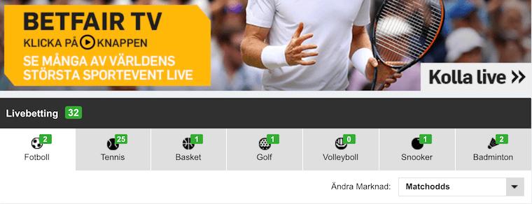 Betfair TV med en frustrerad tennisspelare i bakgrunden