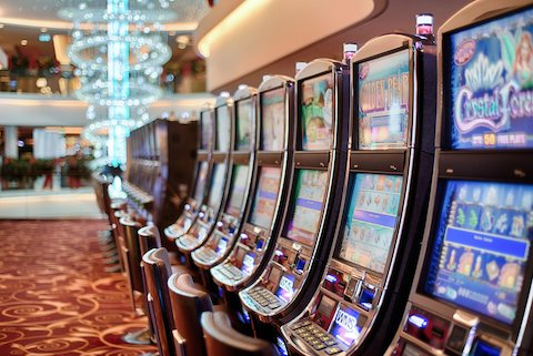 Slot machines in an open area